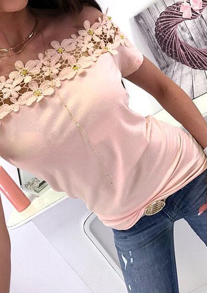 Lace Stitching Collar Blouse