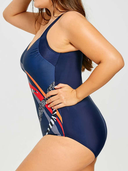 Large-size Printed One-piece Swimsuit