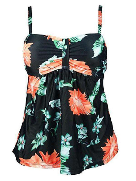 Large Flower Print Split Swimsuit