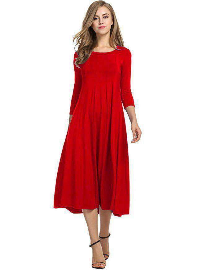 Long-sleeved Solid Color Dress