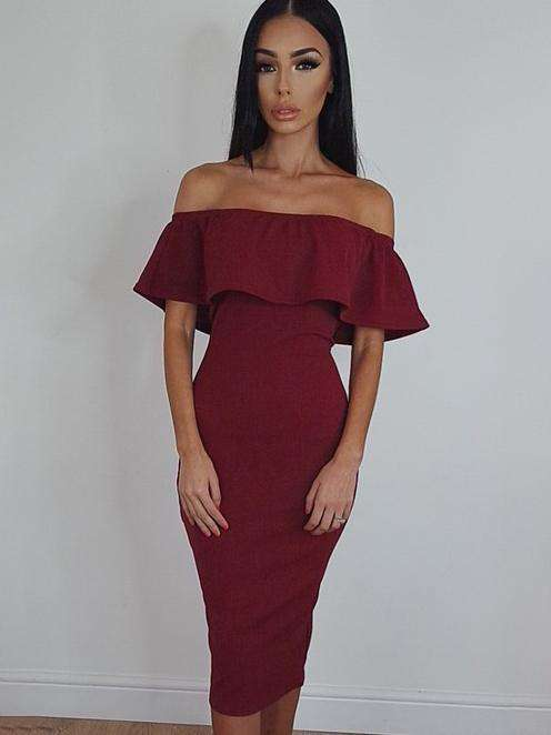 Lotus Leaf Off Shoulder Bodycon Dress