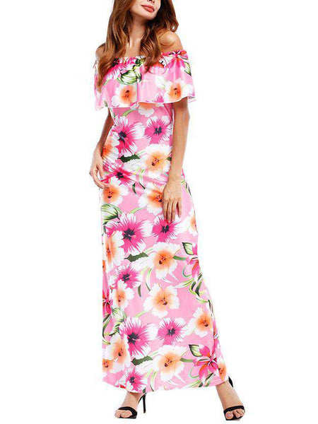 Lotus Leaf Off Shoulder Floral Printed Dress