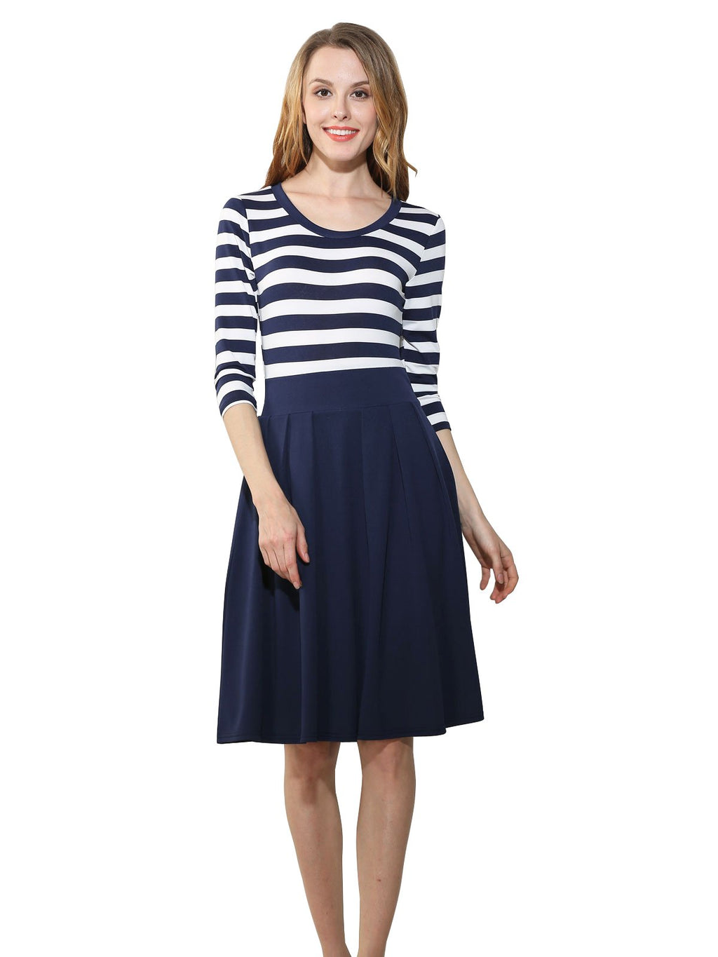 Three-Quarter Sleeve O-Neck Stripe Dress