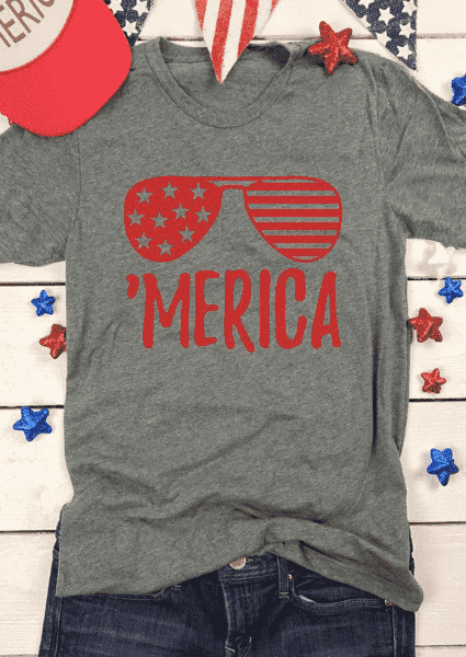 T-Shirt Merica Glasses