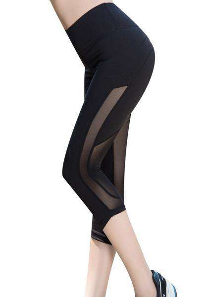Mesh Patchwork Workout Fitness Yoga Capris Leggings
