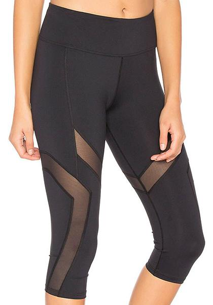 Mesh Patchwork Workout Yoga Capris Pants