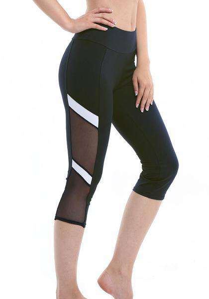 Leggings in capris di yoga con patchwork in mesh