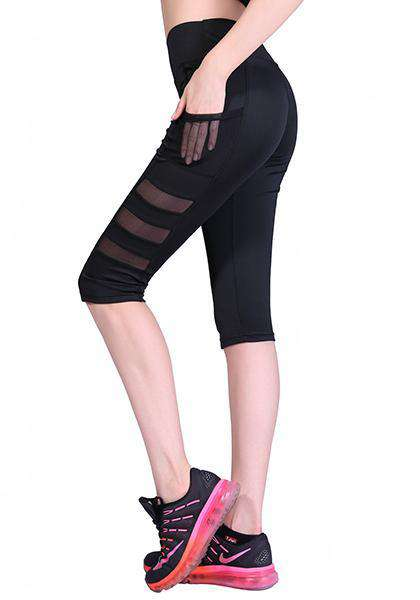 Mesh Side Pocket Capris Pants