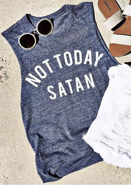 Letter Printed Grey Casual Tank Not Today Satan