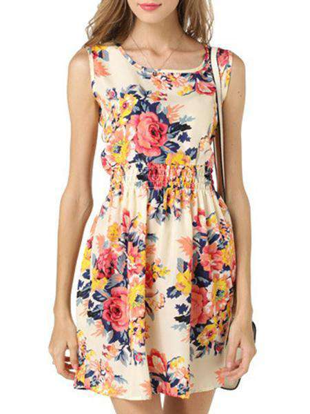 O-Neck Floral Printed Dress