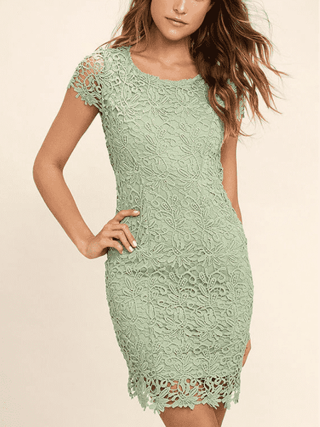 O-Neck Lace Halter Dress