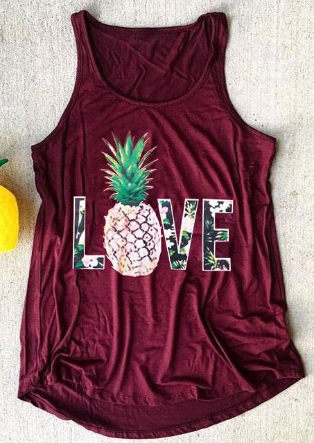 O-Neck Love Pineapple  Tank