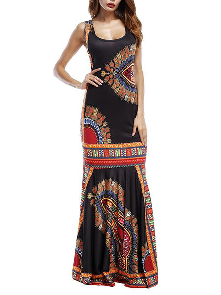 O-Neck Printed Maxi Dress