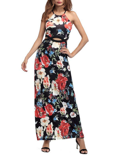 O-Neck Slip Floral Printed Dress