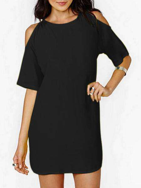 Robe de couleur unie O-Neck