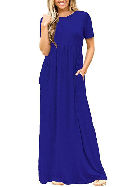 O-Neck Solid Color Dress