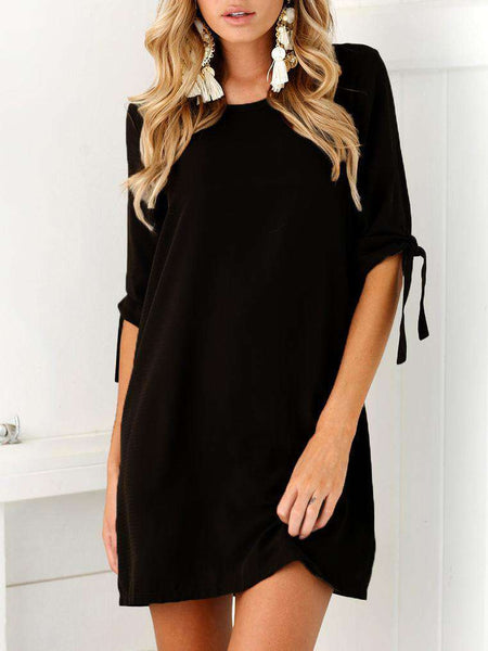 O-Neck Solid Color Loose Dress