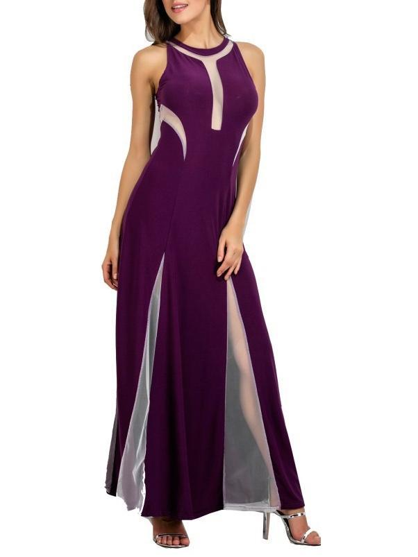 O-Neck Solid Color Veil Dress