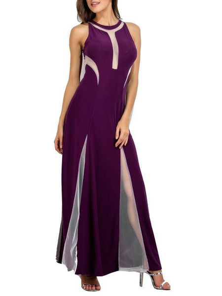 O-Neck Solid Color Schleierkleid