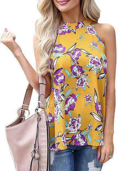 O-neck Halter Sleeveless Printing Vest
