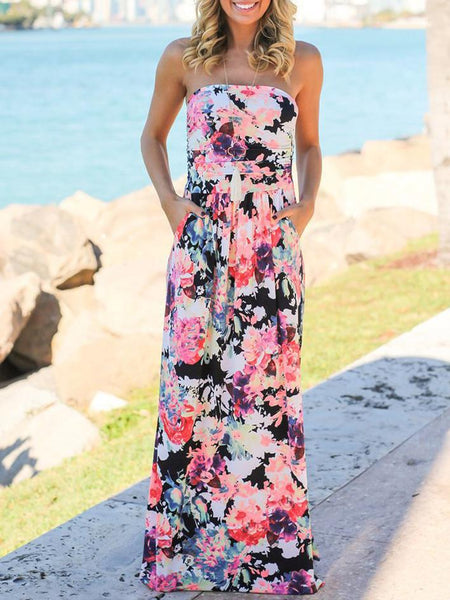 Off Shoulder Floral Printed Dress