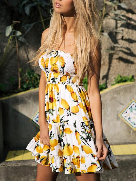 Off Shoulder Lemon Pattern Printed Lotus Leaf Tube Dress