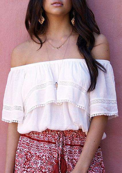 Off Shoulder Tassel Crop Blouse