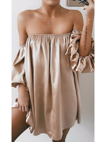 Off Shouler Solid Color Pleated Loose Dress