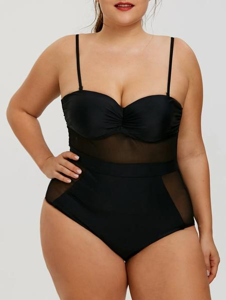 One Piece Mesh Insert Plus Size Swimsuit
