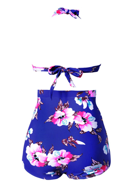 Phoenix Flower Print Retro High Waist Bikini