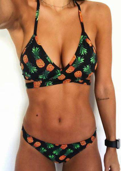 Pineapple Halter Bikini Set without Necklace