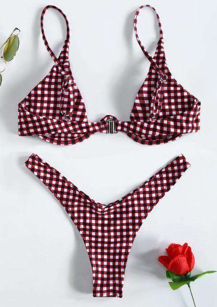 Plaid Adjustable Strap Bikini Set