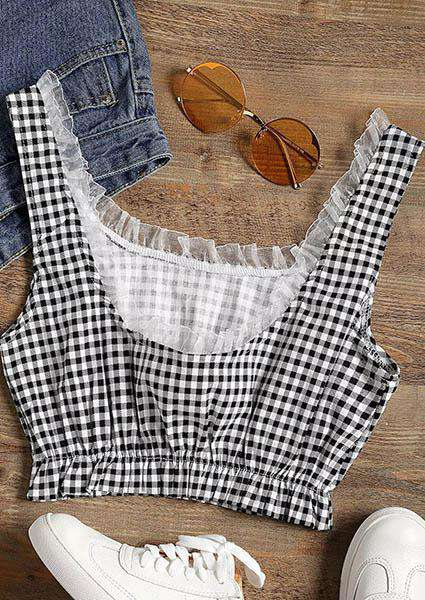 Plaid Printed Lace Backless Off-neck Crop Tops