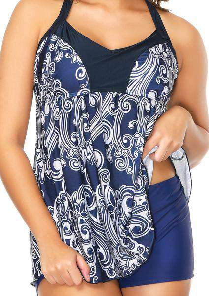Plus Size Classic Print Short Skirt Two Piece Swimsuit