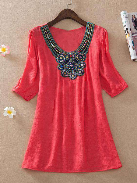 Plus Size Embroidery Dress