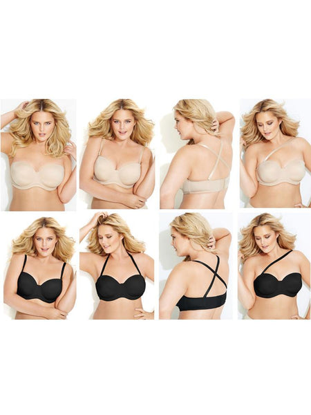Plus Size Half Cup Invisible Smooth Push Up Solid Bra