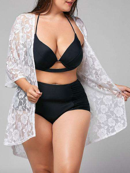 Plus Size Kimono Lace Sheer Cover-up