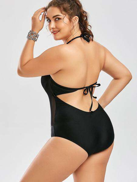 6d2c1311ee7f6 Plus Size Mesh Insert Backless One Piece Swimwear – 2UBest.com