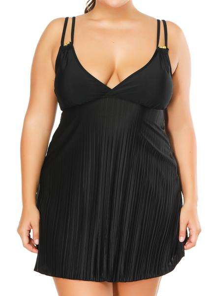 Plus Size Plain long skirt two-piece swimsuit