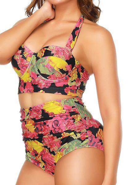 Plus Size Printed two-piece split swimsuit