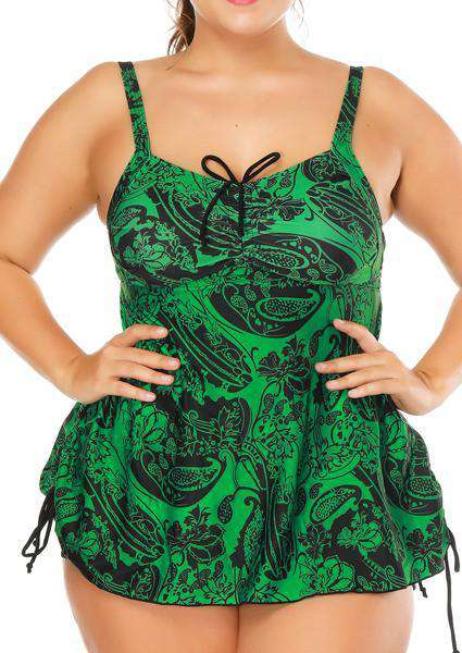 Plus Size Rain forest Printed Swimsuit