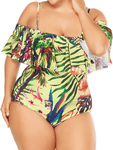 Plus Size Ruffled Siamese Sexy Plus Size Swimsuit
