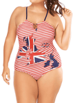Plus Size Stripe printed one-piece swimsuit