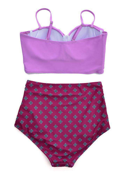 Print Stitching High Waist Bikini