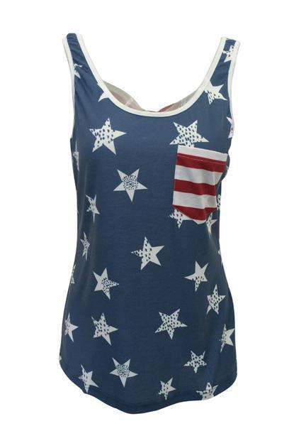 Printing Flag Blue Tanks