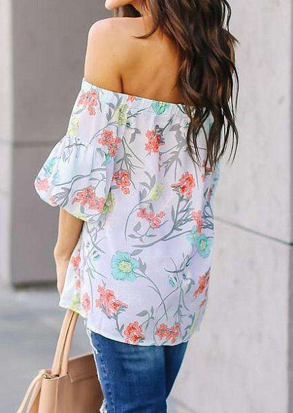 Printing Lantern Sleeve Blouse Off Shoulder