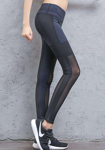 Quick-Drying Skinny Mesh Patchwork Workout Long Yoga Leggings
