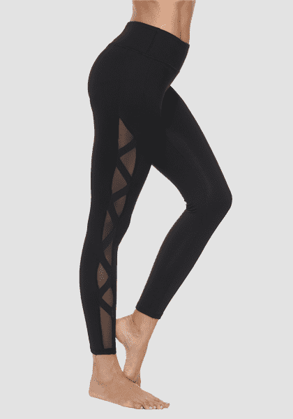 Pantalon de yoga à compression rapide et à compression rapide-Long Leggings-2UBest.com-Black / White-S-2UBest.com