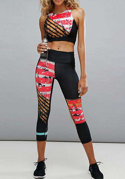 Quick-drying Stretchy Red & White Stripe Printed Patchwork Yoga Capris Leggings