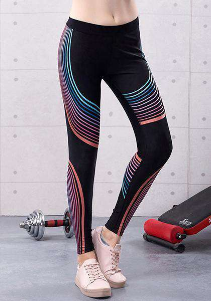 Stretchy Skinny Workout extensible à rayures colorées imprimées longues Leggings de Yoga